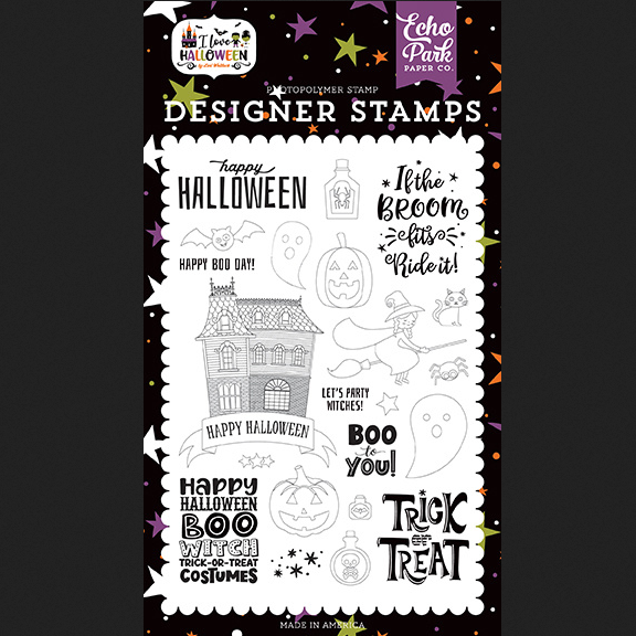 New Echo Park Paper I LOVE HALLOWEEN Boo To You Clear Stamp Set ILH218043