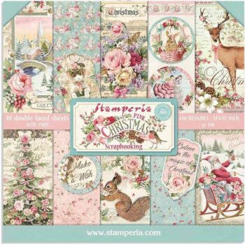 Stamperia Pink Christmas 12 x 12 Paper Pack