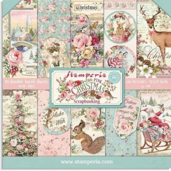 Stamperia Pink Christmas 8 x 8 Paper Pack