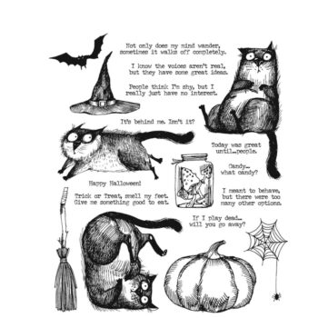 Snarky Cat Halloween Stamp Set by Tim Holtz