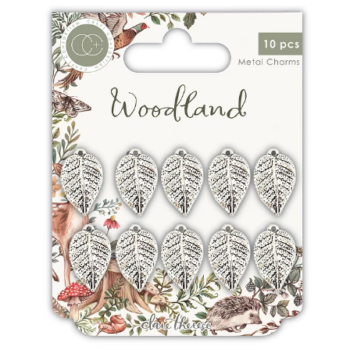 Craft Consortium - Woodland Metal Charms Silver Leaves