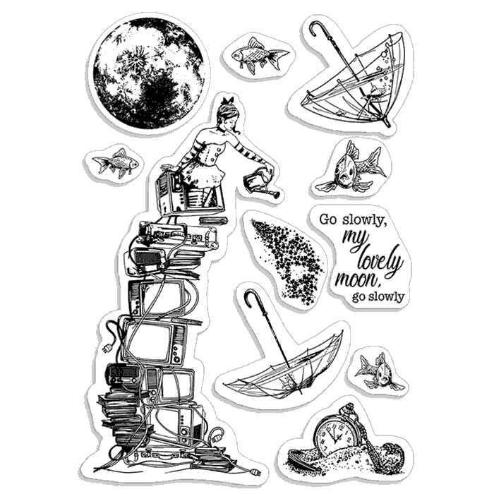 Go Slowly Lovely Moon Clear Stamp Set - Moon and Me - Ciao Bella Papers